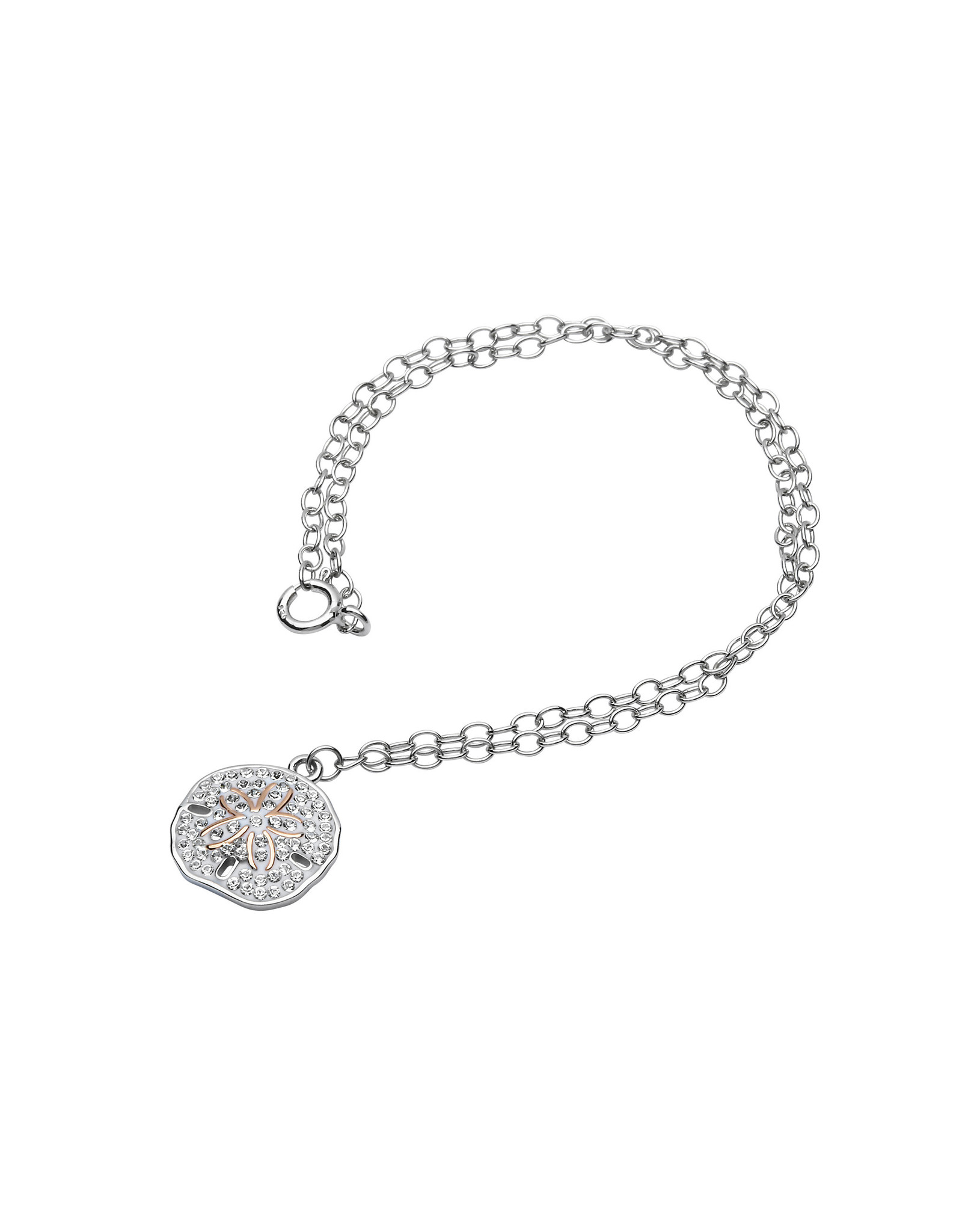 Ocean Jewelry Sand Dollar RG & White Crystal Anklet