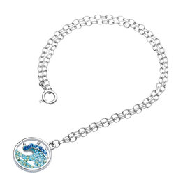 Ocean Jewelry Wave & Blue/White Crystal Anklet