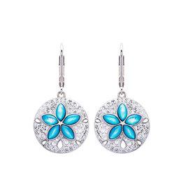 Ocean Jewelry Aqua MOP Sand Dollar Earrings