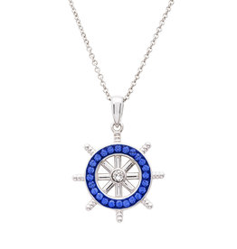 Ocean Jewelry Sapphire Crystal Ships Wheel Pendant