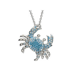 Ocean Jewelry Blue SW Crystal Crab Pendant