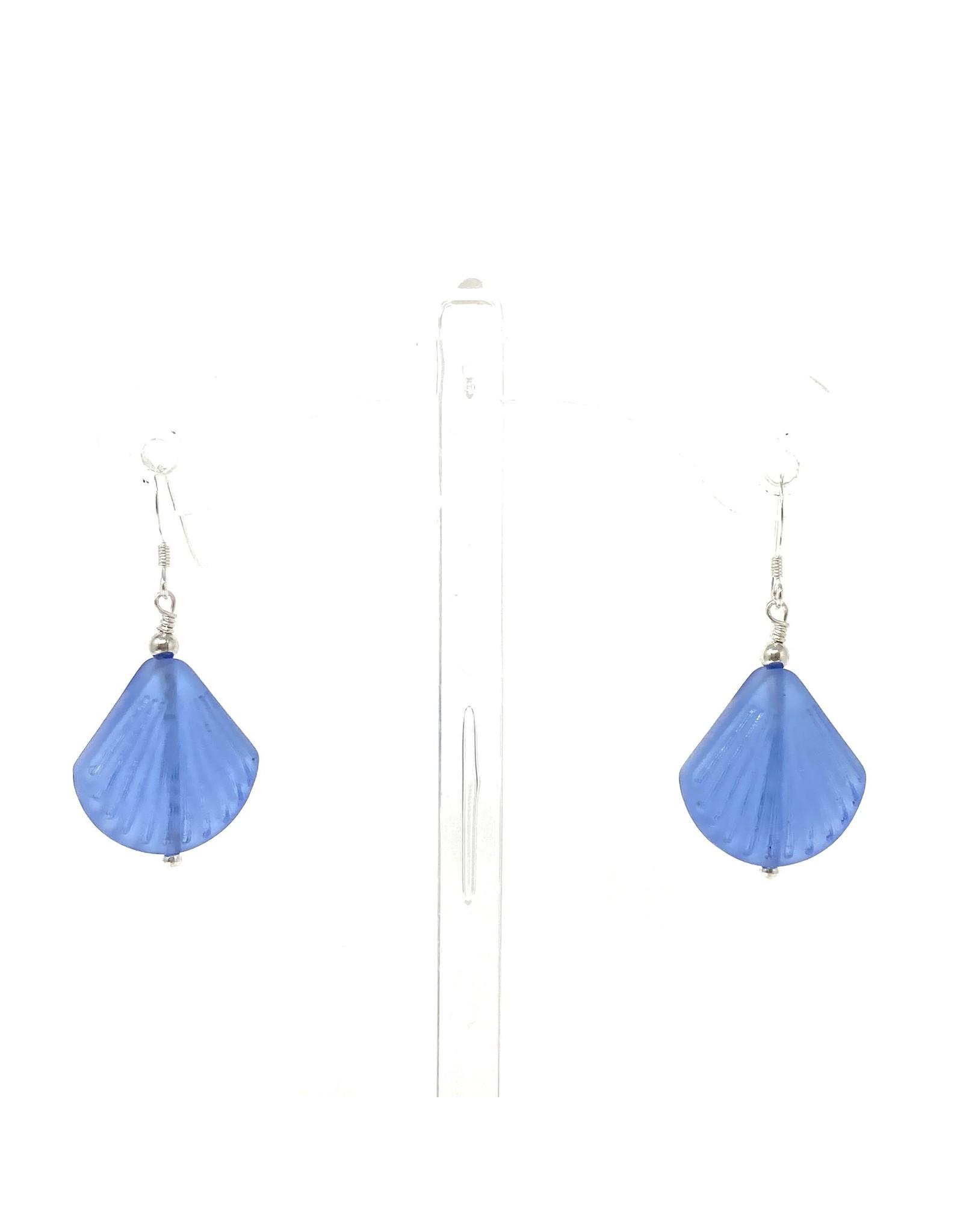 Sea Glass Shell Earrings Blue