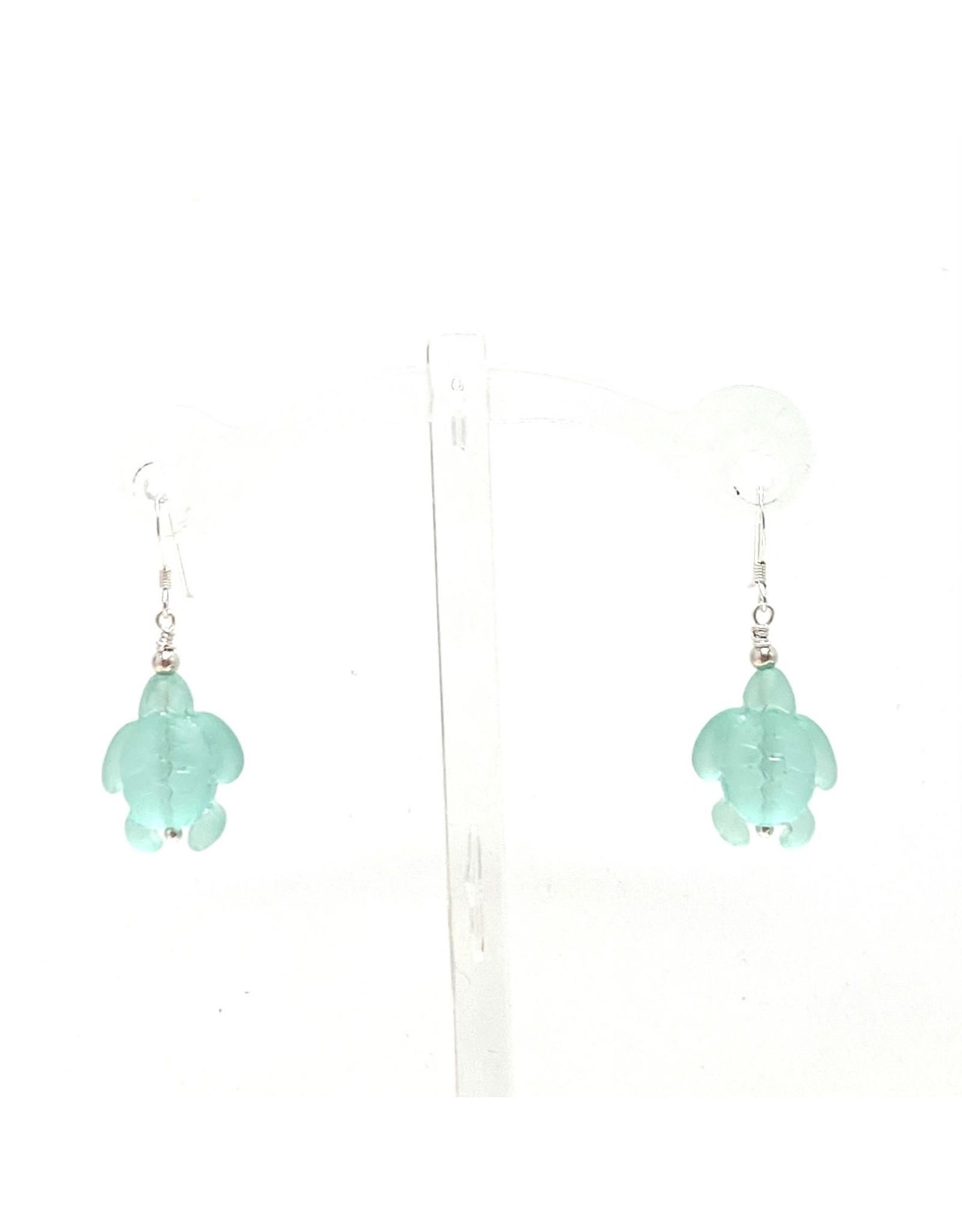 Sea Glass Turtle Earrings Seafoam