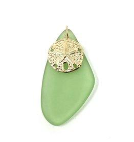 Lime Sea Glass & GF Sand Dollar Pendant