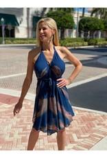 Blue/Brown Short Pyramid Dress