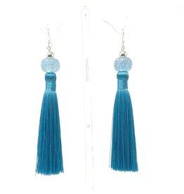 Turquoise LT Crystal Tassel Earring