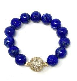 Lapis & Vermil CZ Ball Bracelet
