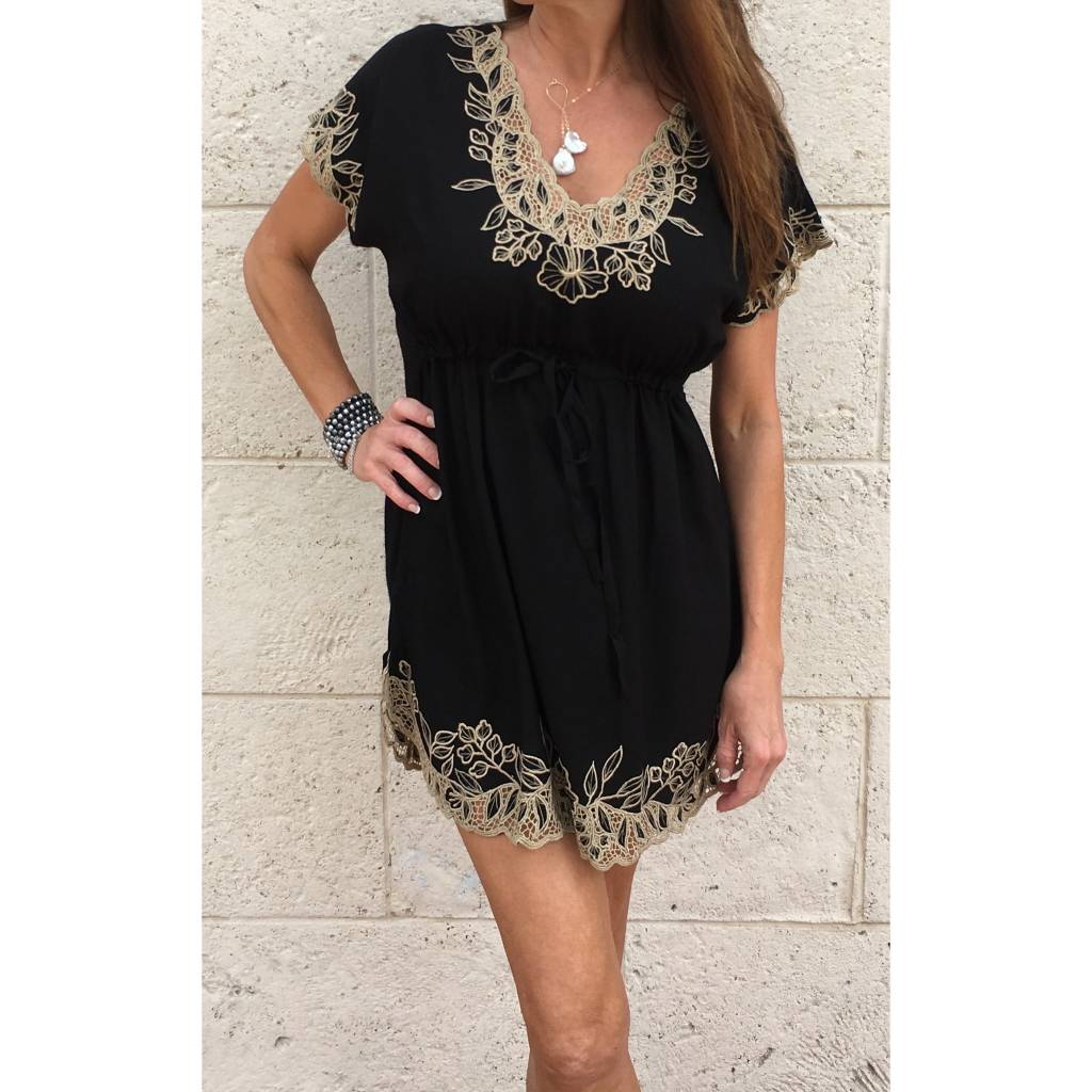 Black Gold Lace Mini Dress Oceans Allure