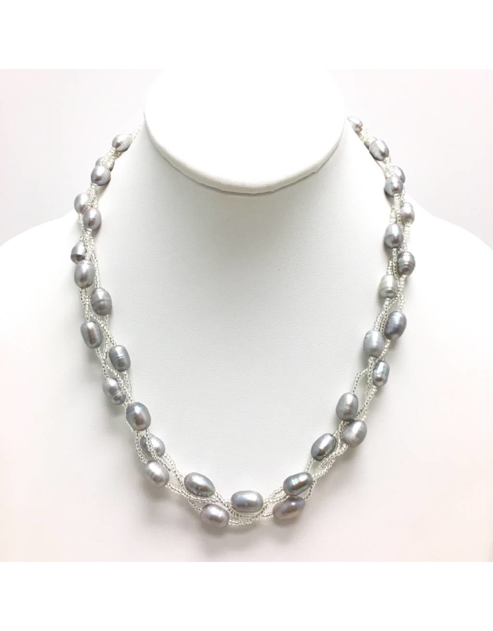 Triple Strand Pearl Beaded Necklace
