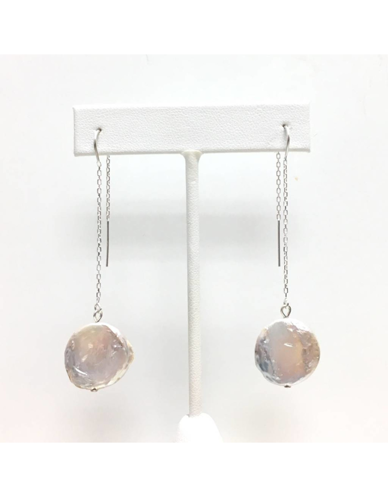 Large Coin Pearl Threader Earrings