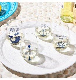 Nauti Girl Bad Bouy Wine Glass Set