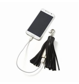 Black Leather Tassel Powerbank