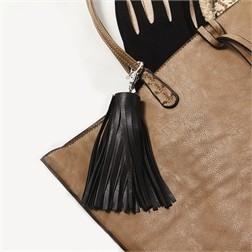 Black Leather Tassel Powerbank