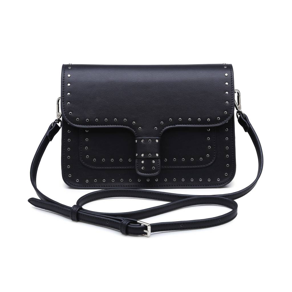 Black Jemma Crossbody with Stud Detail