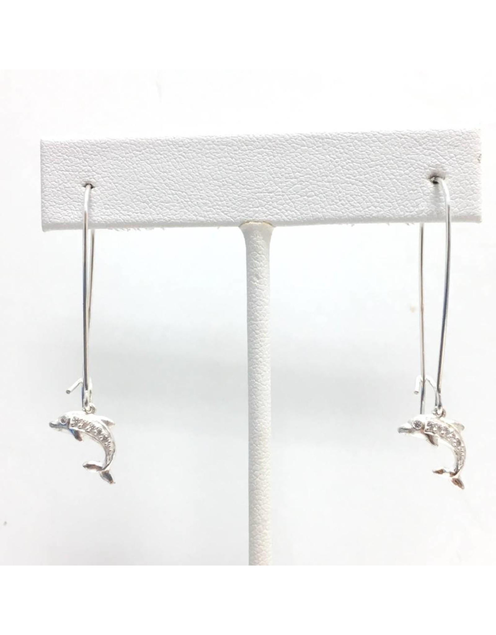 Silver CZ Dolphin Earrings