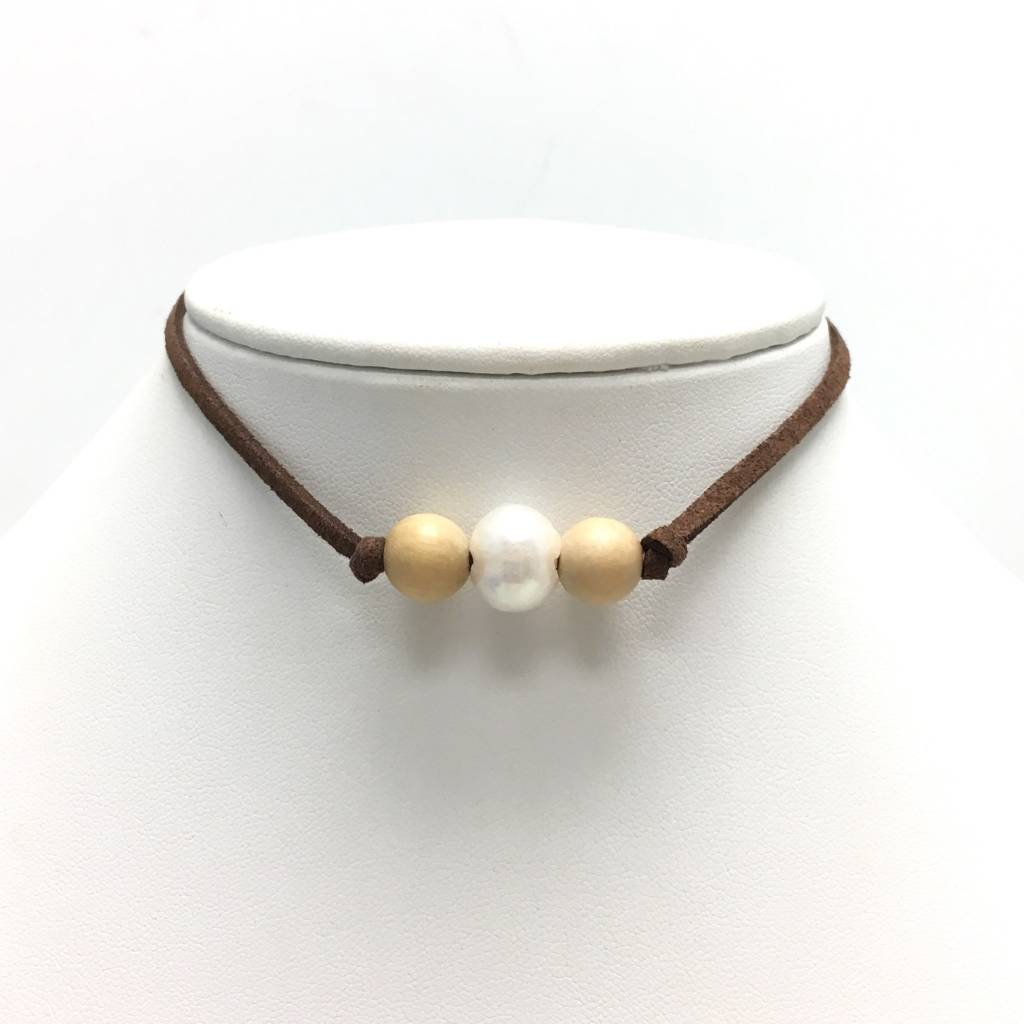 Freshwater Pearl Choker & Wood on Choc. Suede