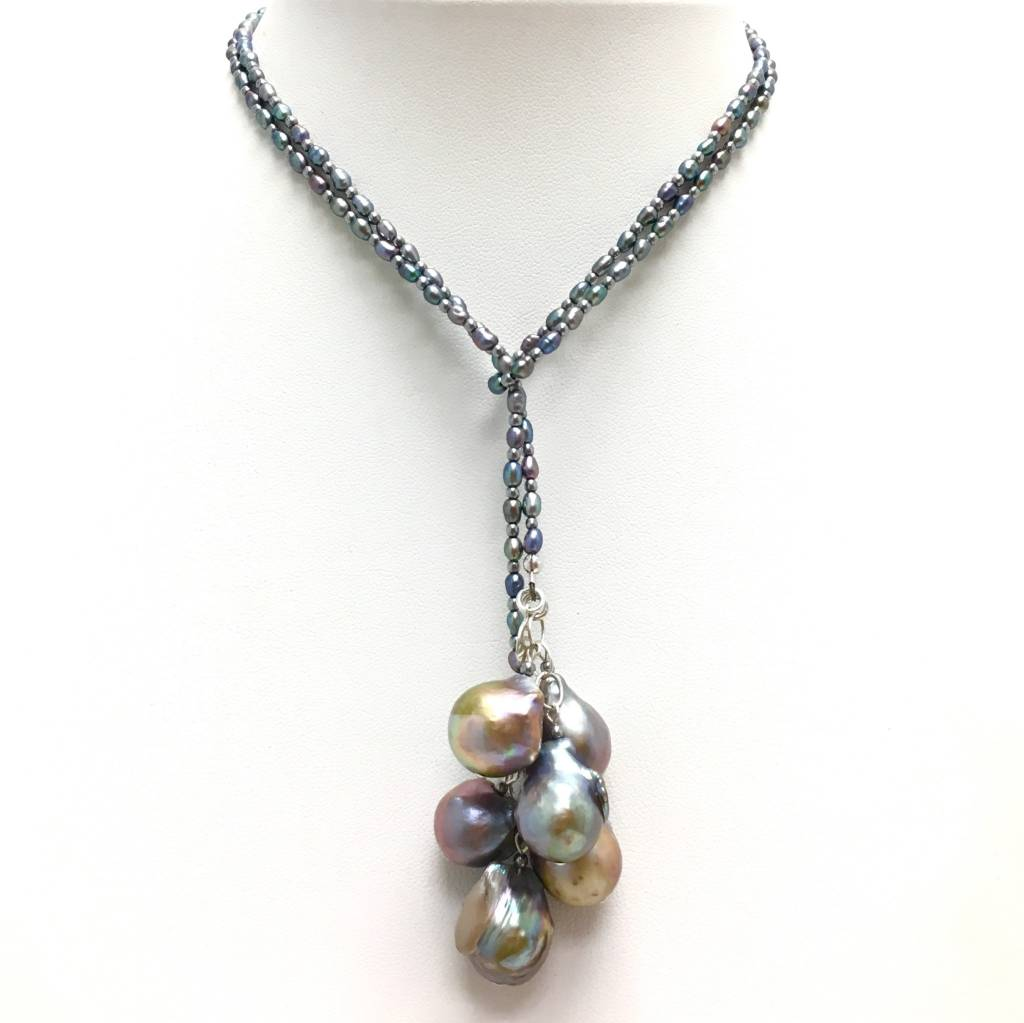 Peacock Rice & Baroque Pearl Lariat
