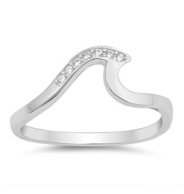 Sterling Wave Ring - Half CZ