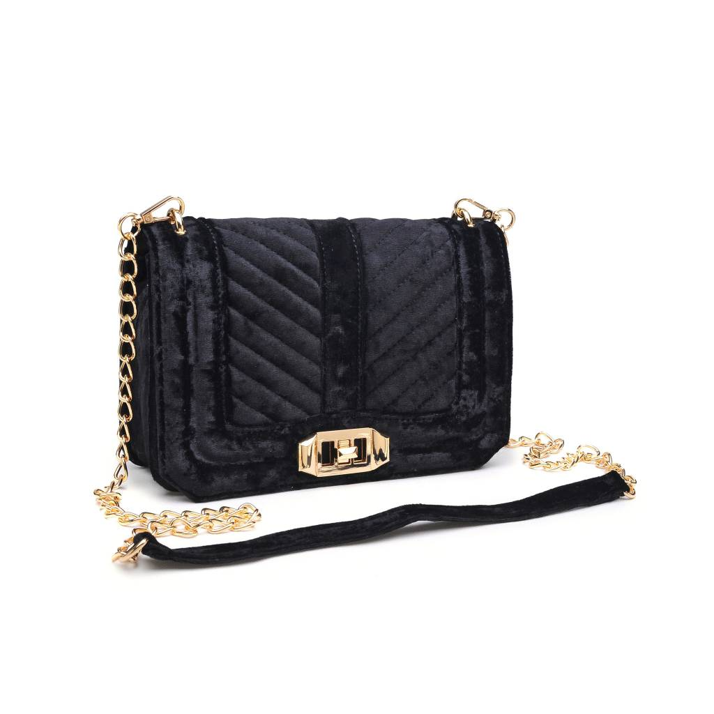 8c90a8f54c4 Black Velvet & Gold Chain Purse - Oceans Allure