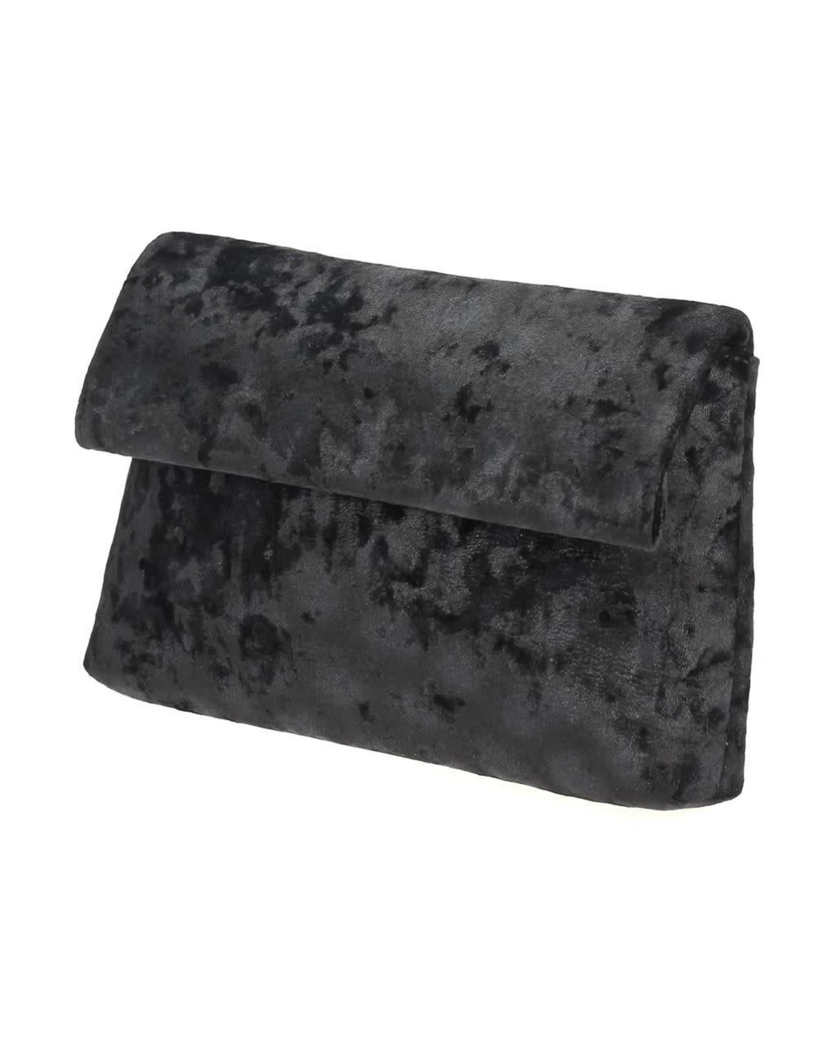 Black Velvet Fold Over Clutch