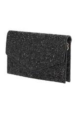 Glitter Fold Over Clutch-Black