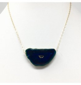 Blue Agate on Gold Chain