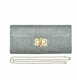 Pewter Woven Clutch with Bamboo Turn