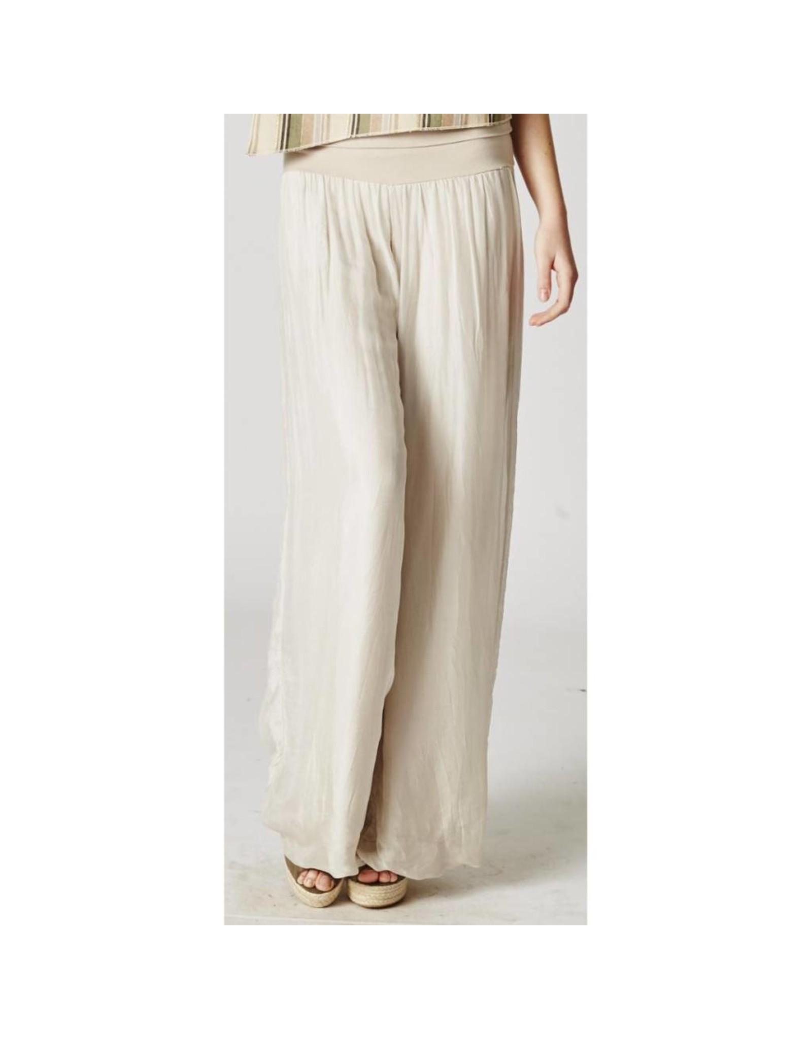 Beige Silk Pants
