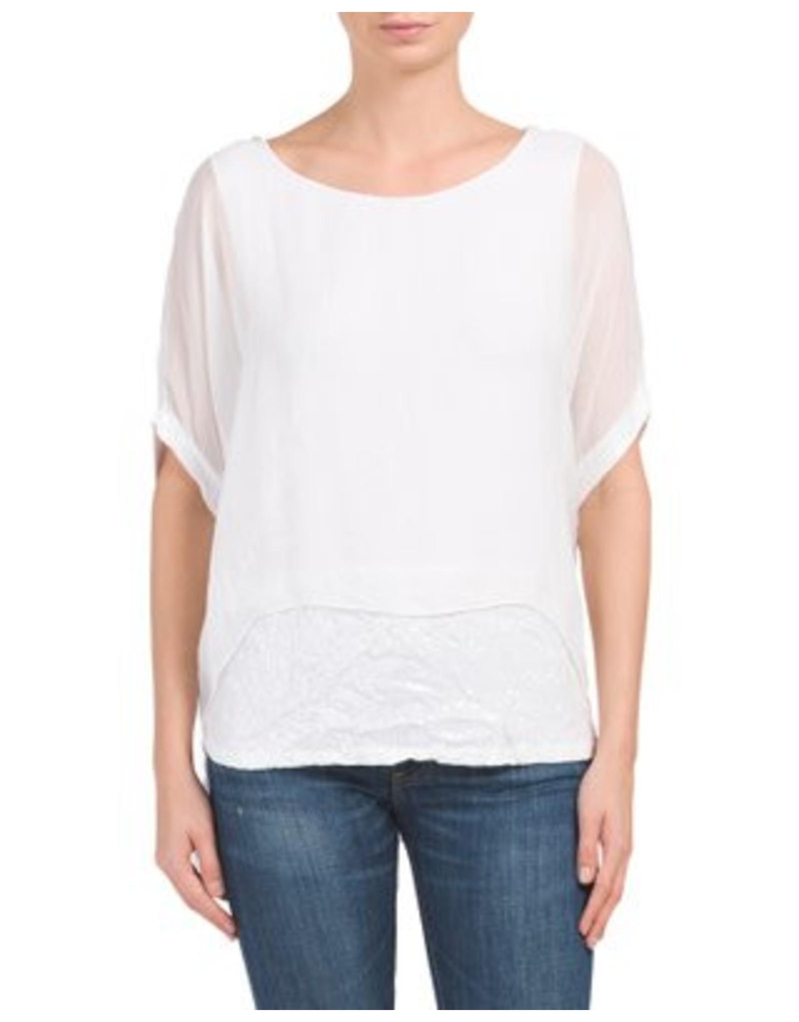 White Silk Sequin Layer Top