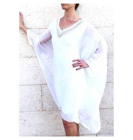 White V-Neck Sequin Dress