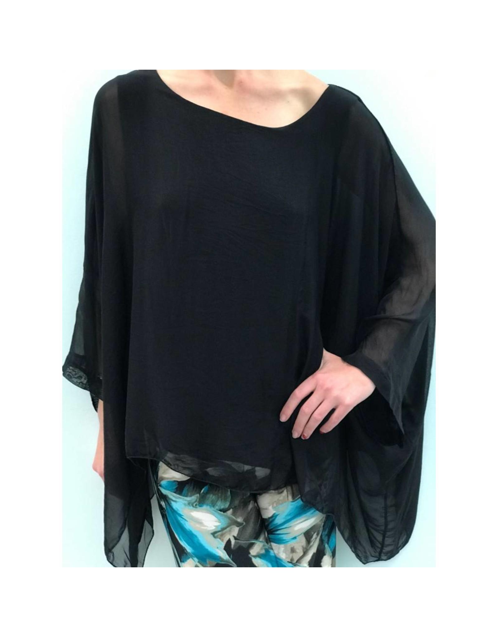 Black Silk Sleeve Top
