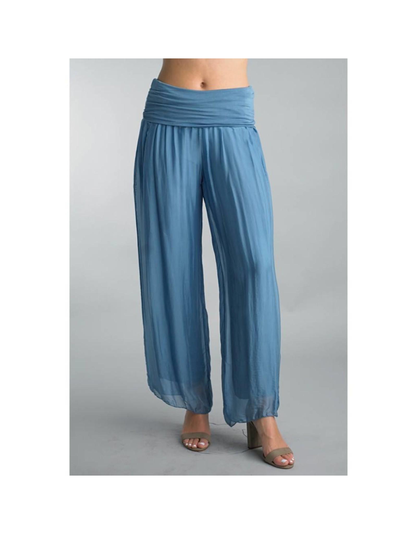 Steel Blue Silk Pants