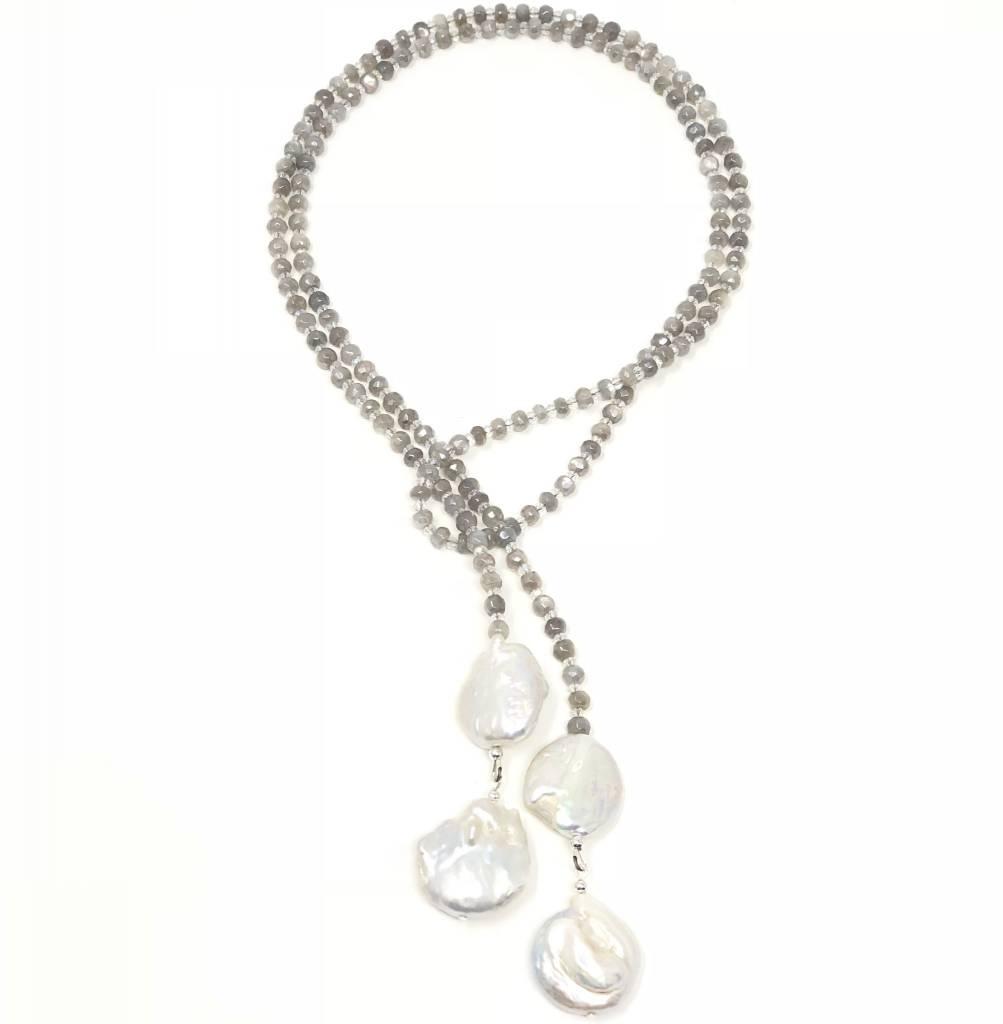 Grey Moonstone & Biwa Keshi Pearl Lariat