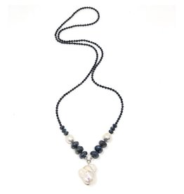 Spinel, Labradorite & Baroque Pearl Necklace
