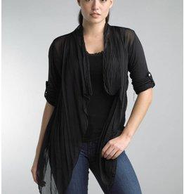 Black Short Silk Cardigan