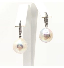 Akoya Baroque Pearl CZ Leverback Earrings