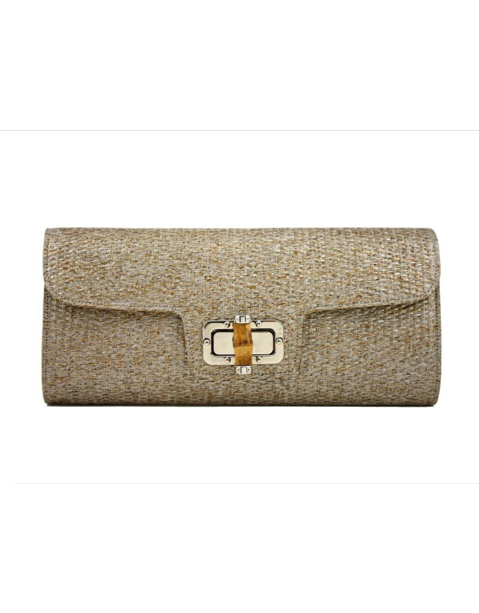 Gold Woven Clutch with Bamboo Turn
