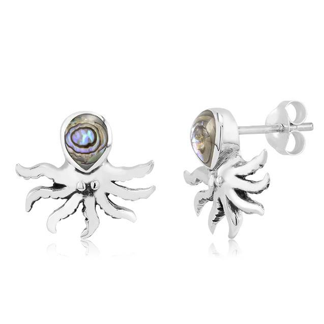 Abalone Inlay Octopus Earrings