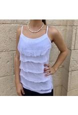 White Silk Sequin Layer Tank