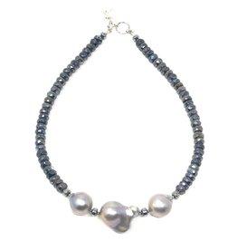 Labradorite & A+ Grey Baroque Pearl  Necklace