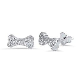 CZ Silver Bone Stud Earring