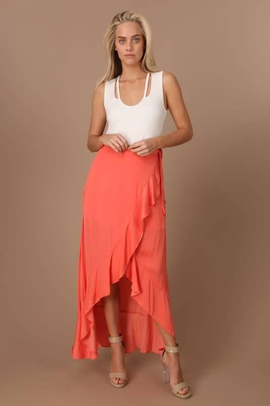 Tangerine Hi-Low Maxi Skirt
