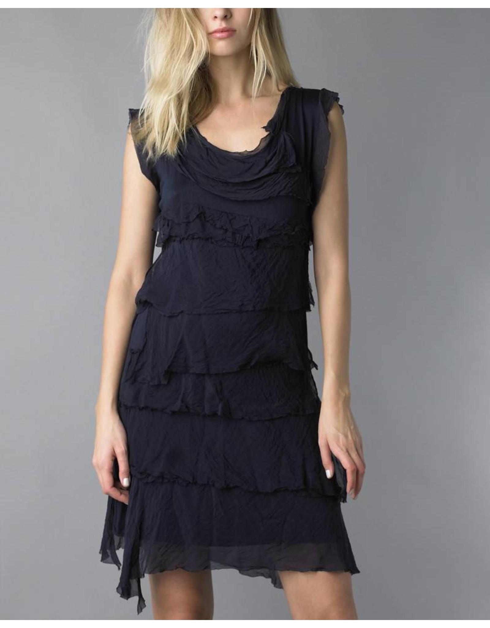 Navy Silk Flutter Dress