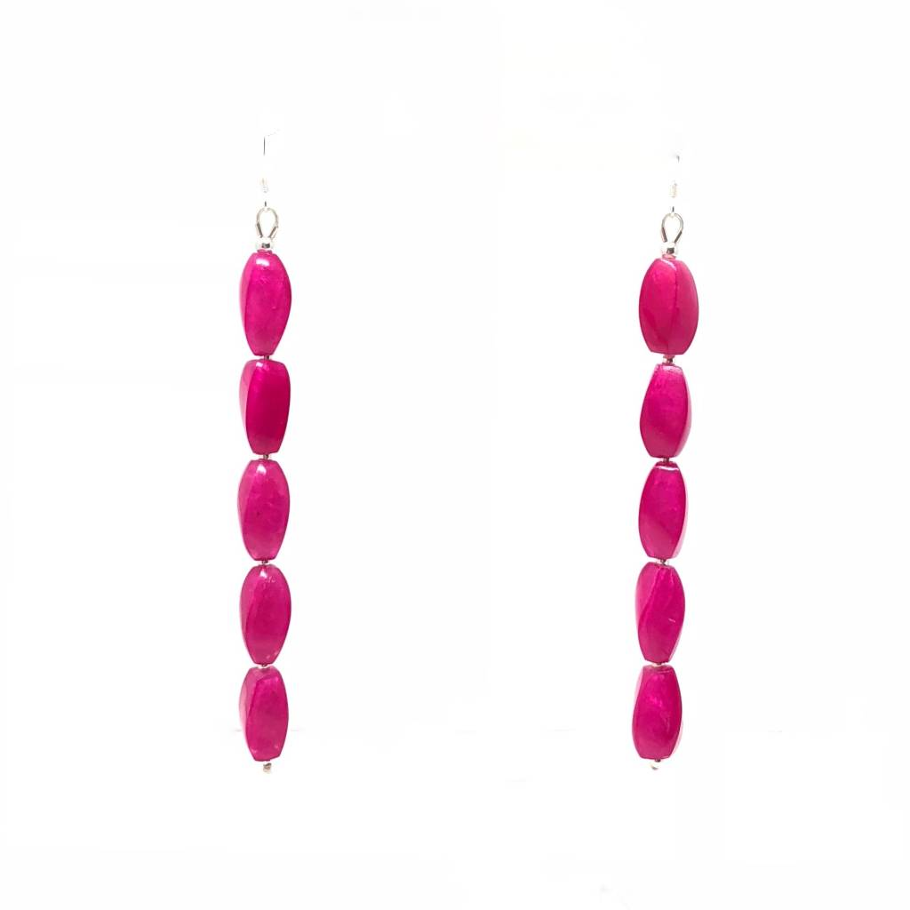 Fuschia Long Capiz Shell Earrings