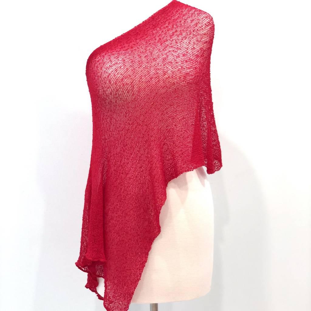 Sheer 5 Way Poncho Red