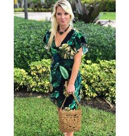 Black Tropical Tie Dress