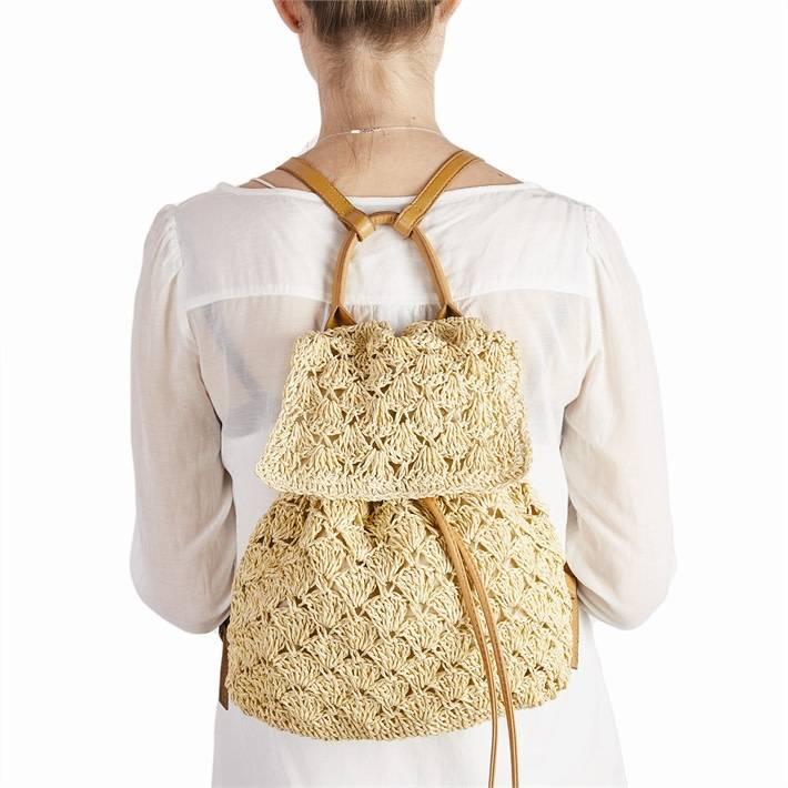 Natural Crochet Backpack