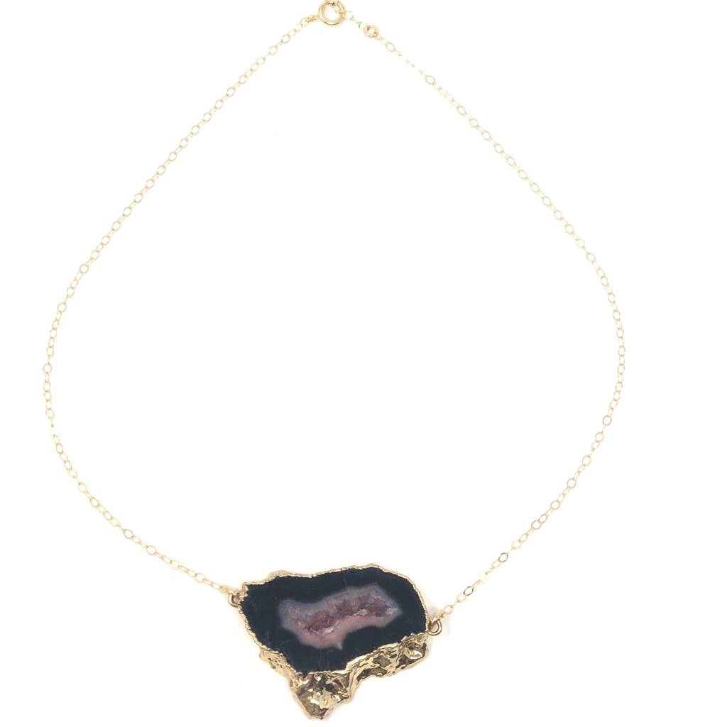 Pink Agate on Gold Filled Chain