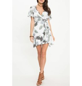 Olive Feather Faux Wrap Dress