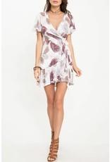 Plum Feather Faux Wrap Dress